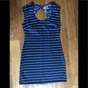 Mimi Chica Navy and white striped key hold dress